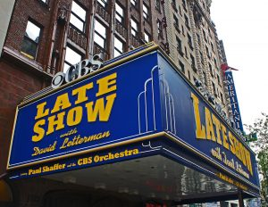 Marquee of Late Show studio where David Letterman made an environmental change to improve his jokes