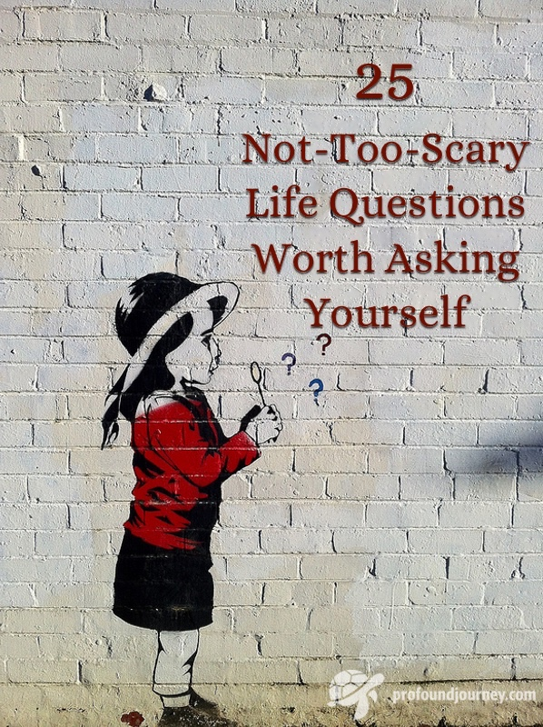 Title 25 Not-Too-Scary Life Questions Worth Asking Yourself on grunge style background of girl painted on dirty white brick wall. Girl is blowing bubbles