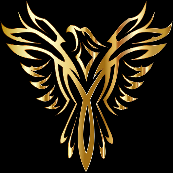 gold mythical creature phoenix on black background