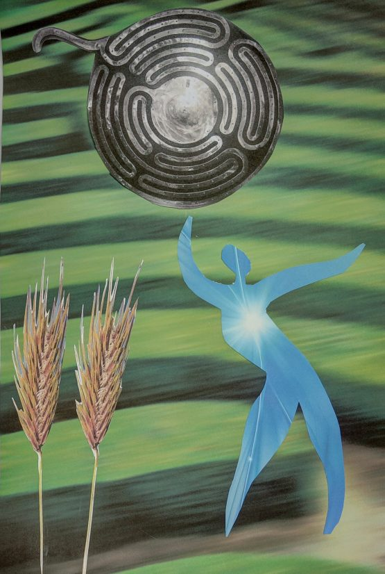collage symbolizing walking through corn maze, labyrinth, hedge maze