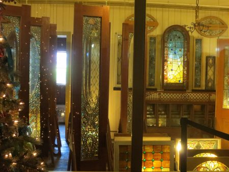 display of tiffany art glass in Winchester Mystery House