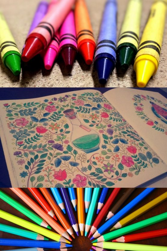 collage of crayons, adult colouring book and coloured pencils