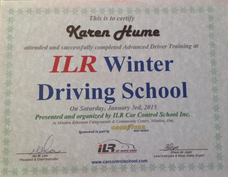 certificate for Karen Hume, winter driving school, issued by ILR