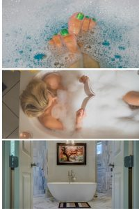 A collage of three hot bath scenes - painted toes in bathwater, a woman reading in a bubble bath, doors opening on to a lovely bathroom with a soaker tub