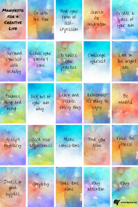 25 square manifesto of various watercolour backgrounds, each with an instruction for living a creative life