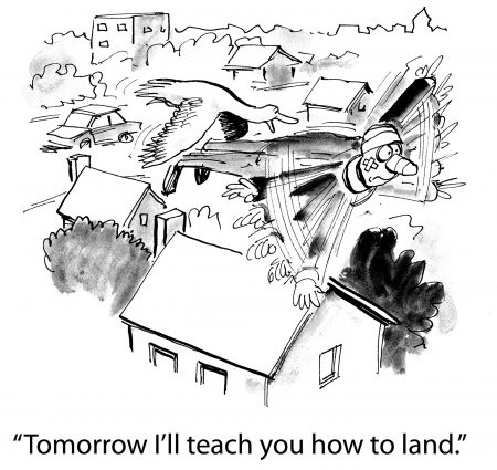 "immunity to change cartoon battered man flying over houses with bird behind him saying ""Tomorrow, I'll teach you how to land."""