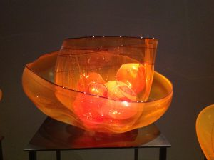 closeup of glass basket within basket made by Dale Chihuly