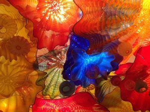 Portion of multi-coloured glass ceiling by Chihuly