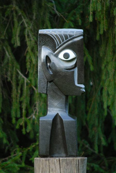 Sculpture titled Marching to a Different Tune by Zimbabwean stone artist Taylor Nkomo