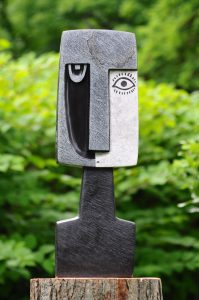Sculpture titled Two Sides of Me by Zimbabwean stone artist Taylor Nkomo