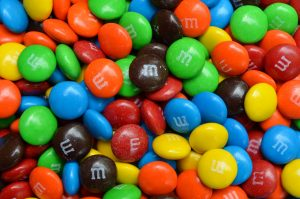 blue, orange, green, yellow and brown M&Ms