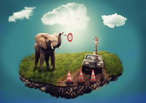 surreal dream interpretation island in sky with elephant and giraffe