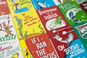 Covers of a dozen Dr. Seuss books