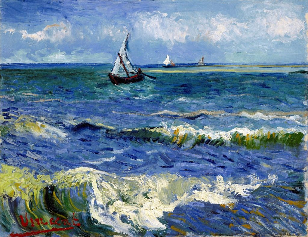 Van Gogh painting of ship on sea