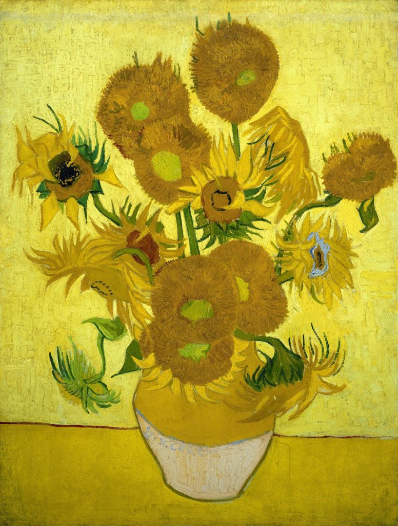 Van Gogh sunflowers in vase