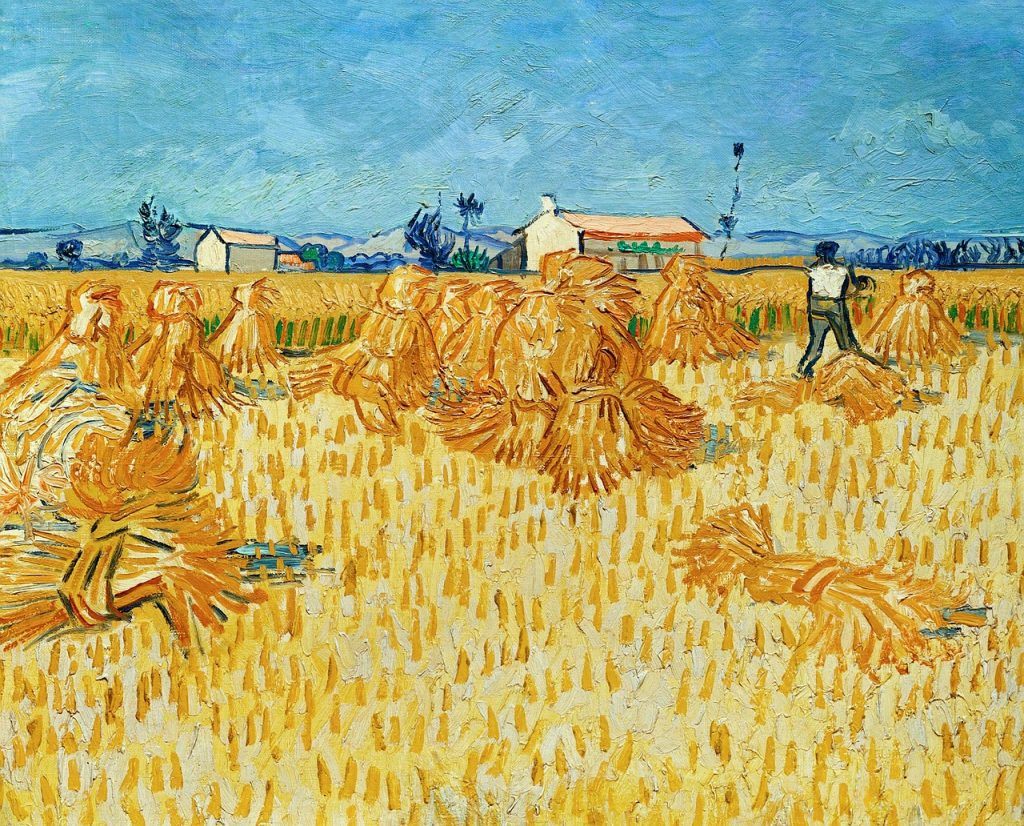 Van Gogh painting gathering wheat