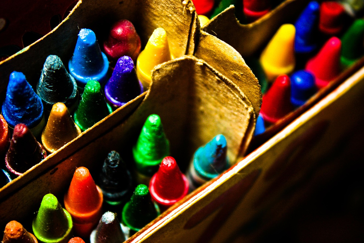 assorted crayons in box