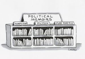 cartoon political memoirs bookshelf nonfiction, fiction, fantasy