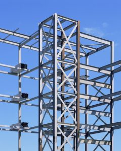 steel frame of apartment building
