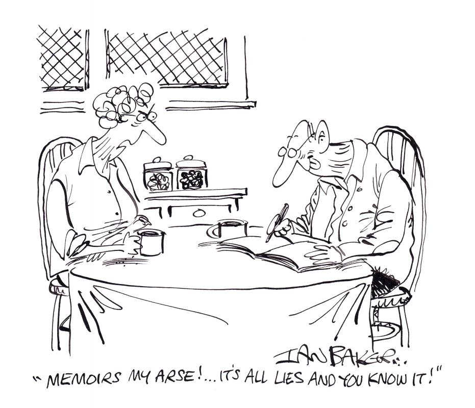 cartoon of old couple, man writing memoir