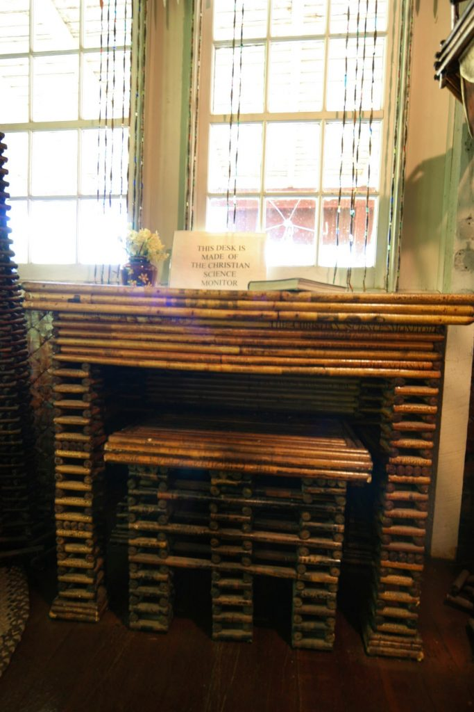 paper desk made of Christian science monitor in paper house, Rockport