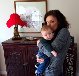 Donna Connolly kissing grandson