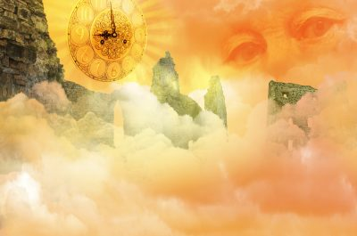 fantasy image of old man's eyes, sundial clock, ruined buildings, clouds