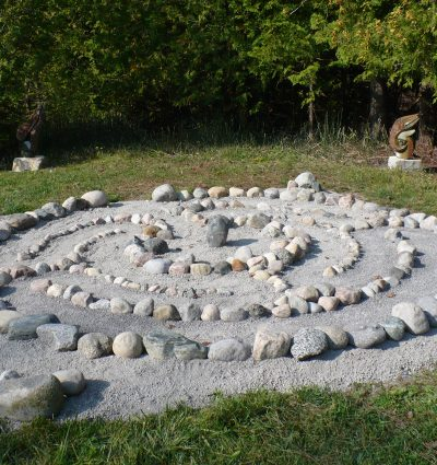 backyard stone labyrinth