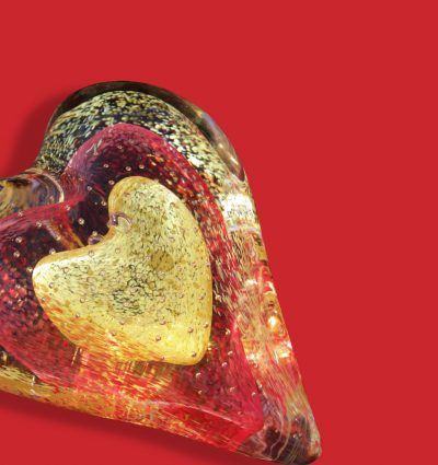 Closeup of layered glass heart
