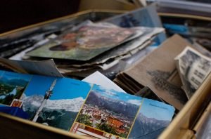 cardboard box filled with photos