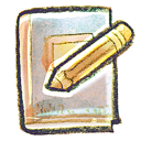 hand drawn icon of book with pencil on top