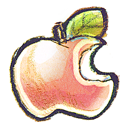 hand drawn icon of apple with bite out of it