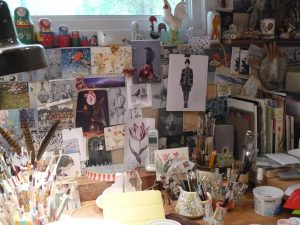 inspiration wall from an artist's studio