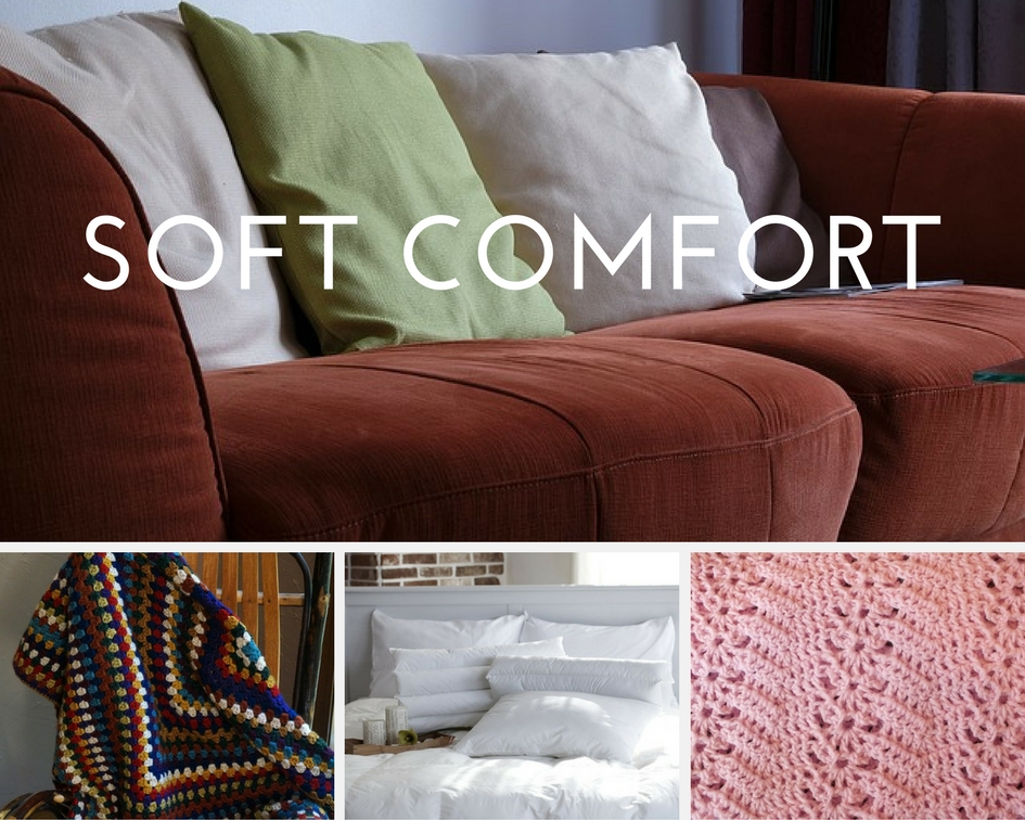 hygge photo collage of comfortable furnishings