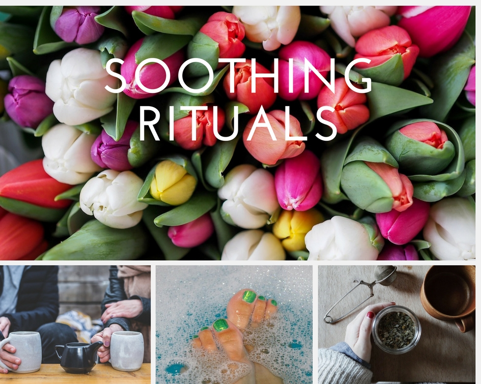 hygge photo collage of soothing rituals