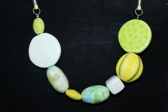 necklace of unique green beads