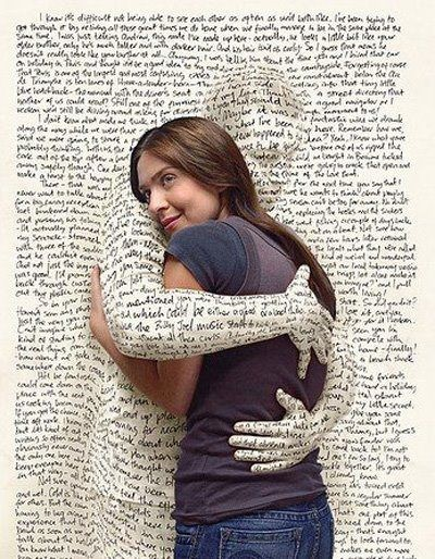 surrealistic image of woman hugging print
