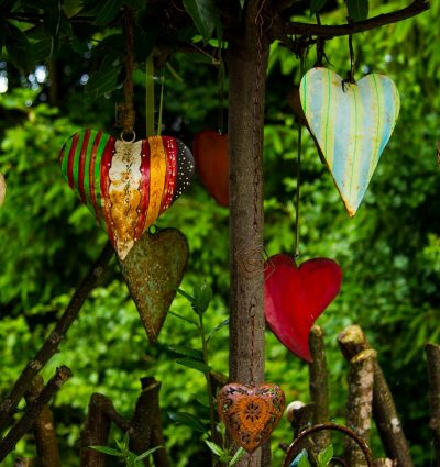 half dozen varied hanging hearts
