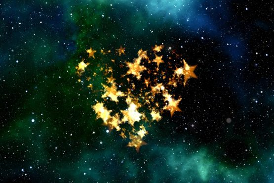 stars forming heart in sky