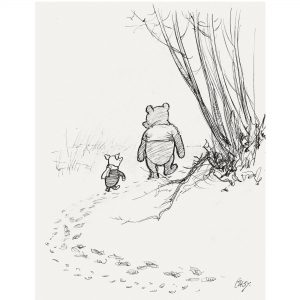 E.H. Shepard illustration of Pooh and Piglet walking in the forest