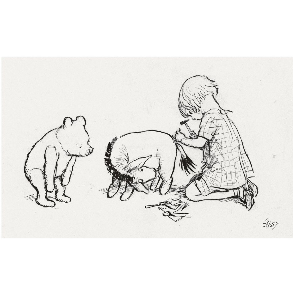 E.H. Shepard illustration of Christopher Robin attaching Eeyore's tail
