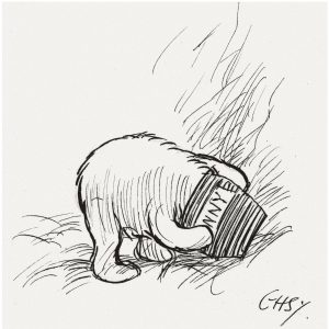 E.H. Shepard illustration of Pooh with his head in a Hunny pot