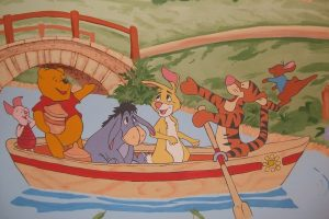 Winnie the Pooh and friends in boat