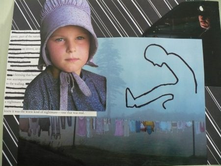 collage of Mennonite girl, fog and police