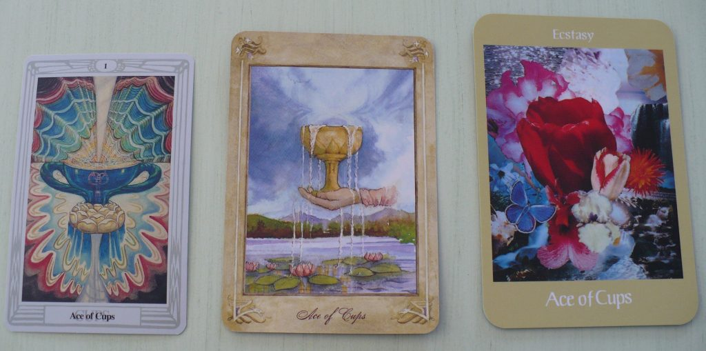 Ace of Cups tarot card from Thoth, Llewellyn and Voyager decks