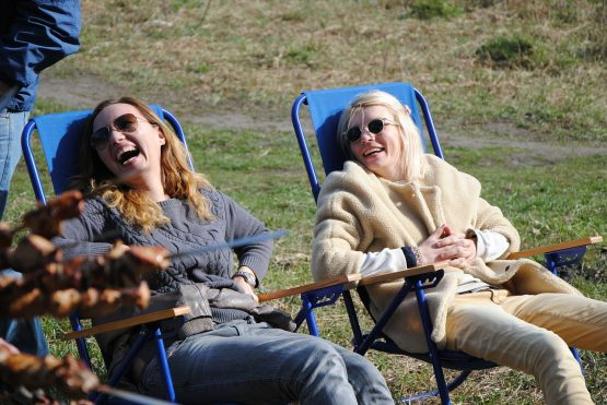 laughter of two middle-aged women