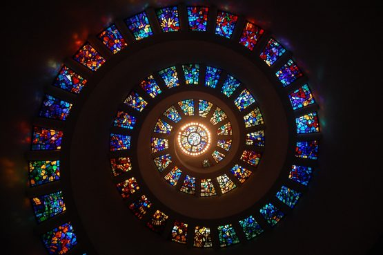 spiral of stained glass