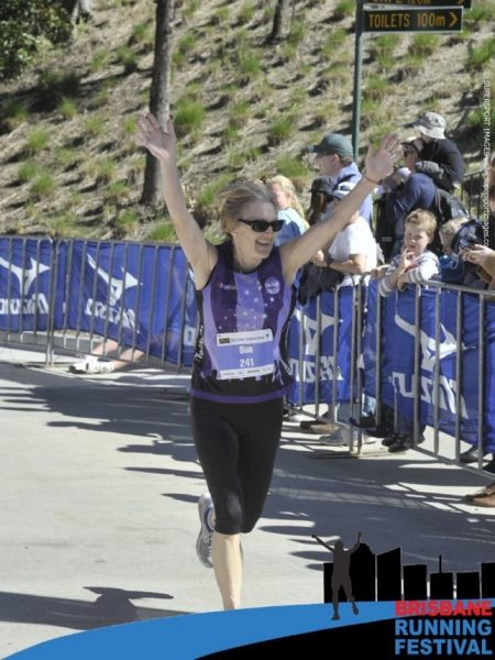 Sizzling Sue Loncaric at the finish line