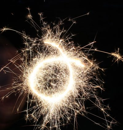 sizzling sparkler forming an O