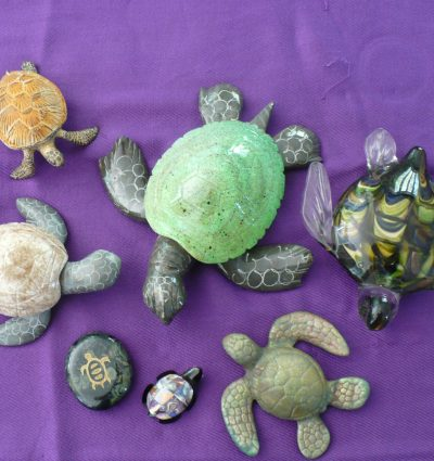 collection raku and glass sea turtles